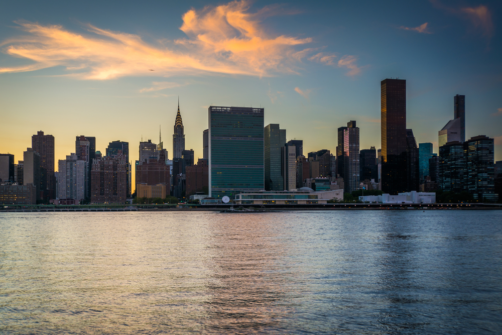 The Manhattan skyline at sunset, seen from Long Island City, Queens, New York.