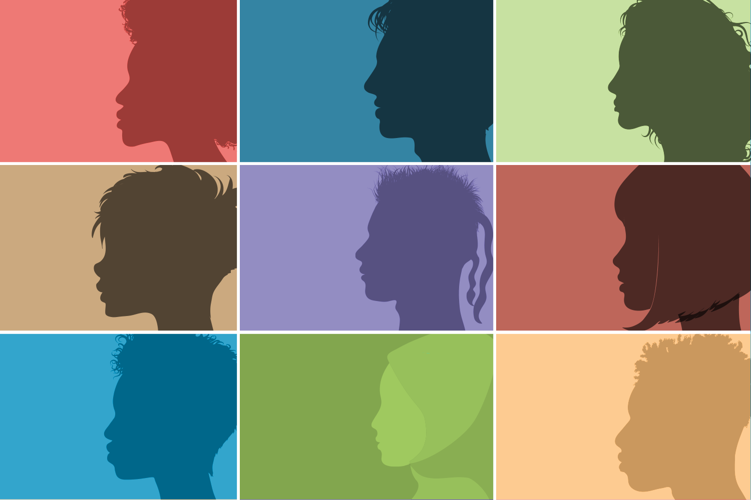 illustration of people with different cultural background arranged in a grid