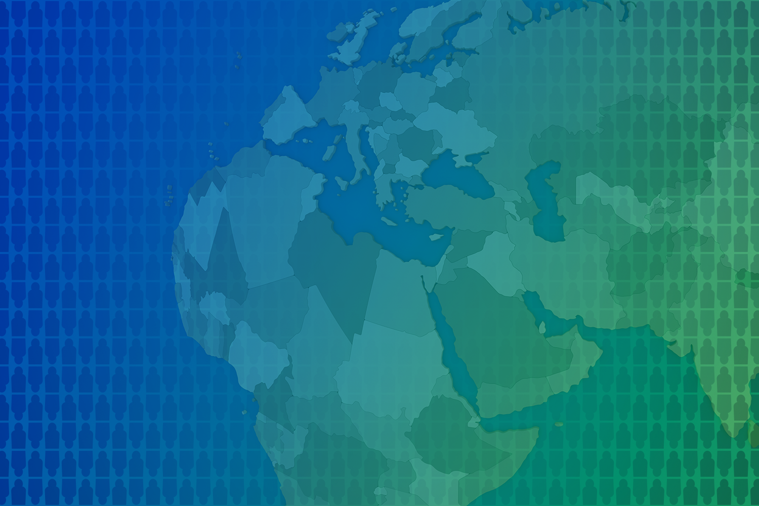illustration of EMEA map overlaid on blueish-green gradient background