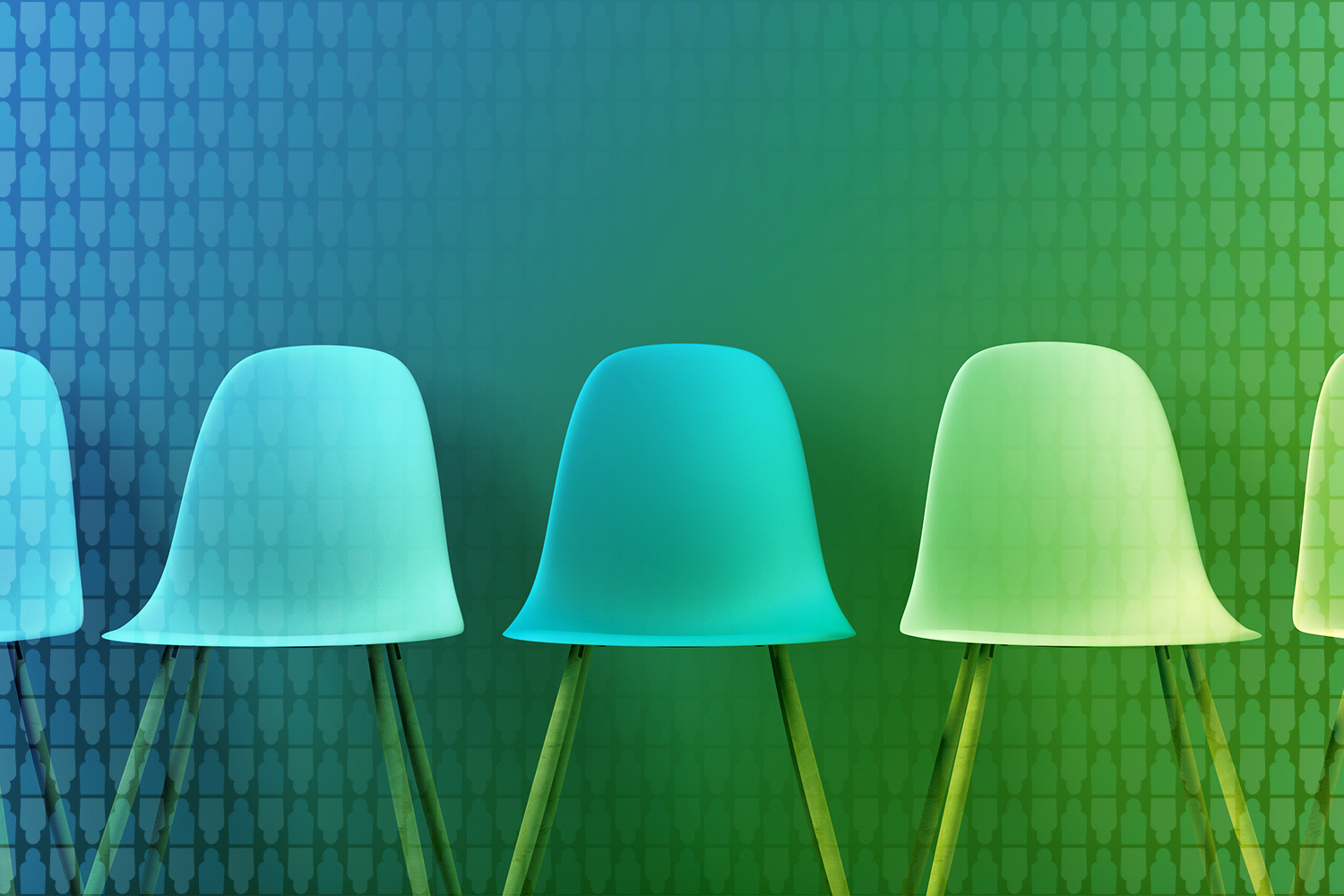 color-treated photo of line of chairs waiting for applicants