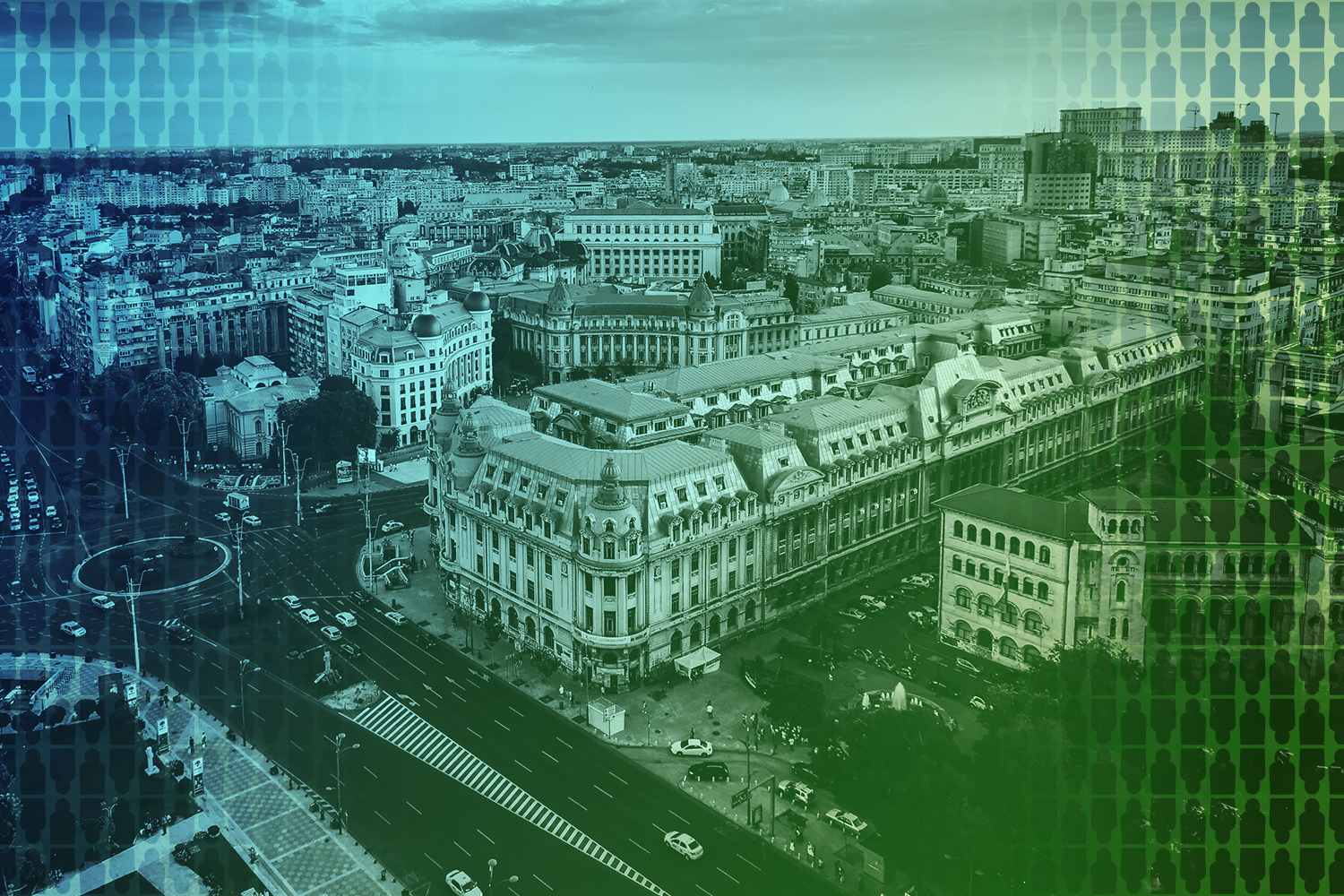 color-treated aerial photo of Bucharest, Romania