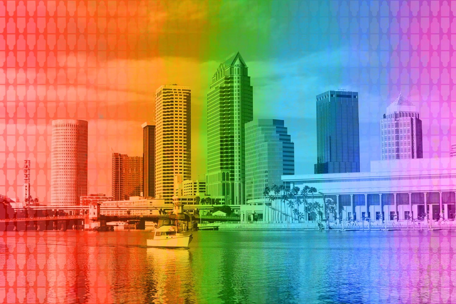 Tampa city skyline with a rainbow treatment on image