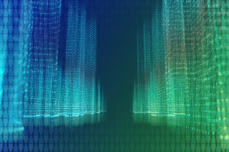 color-treated illustration of digital information