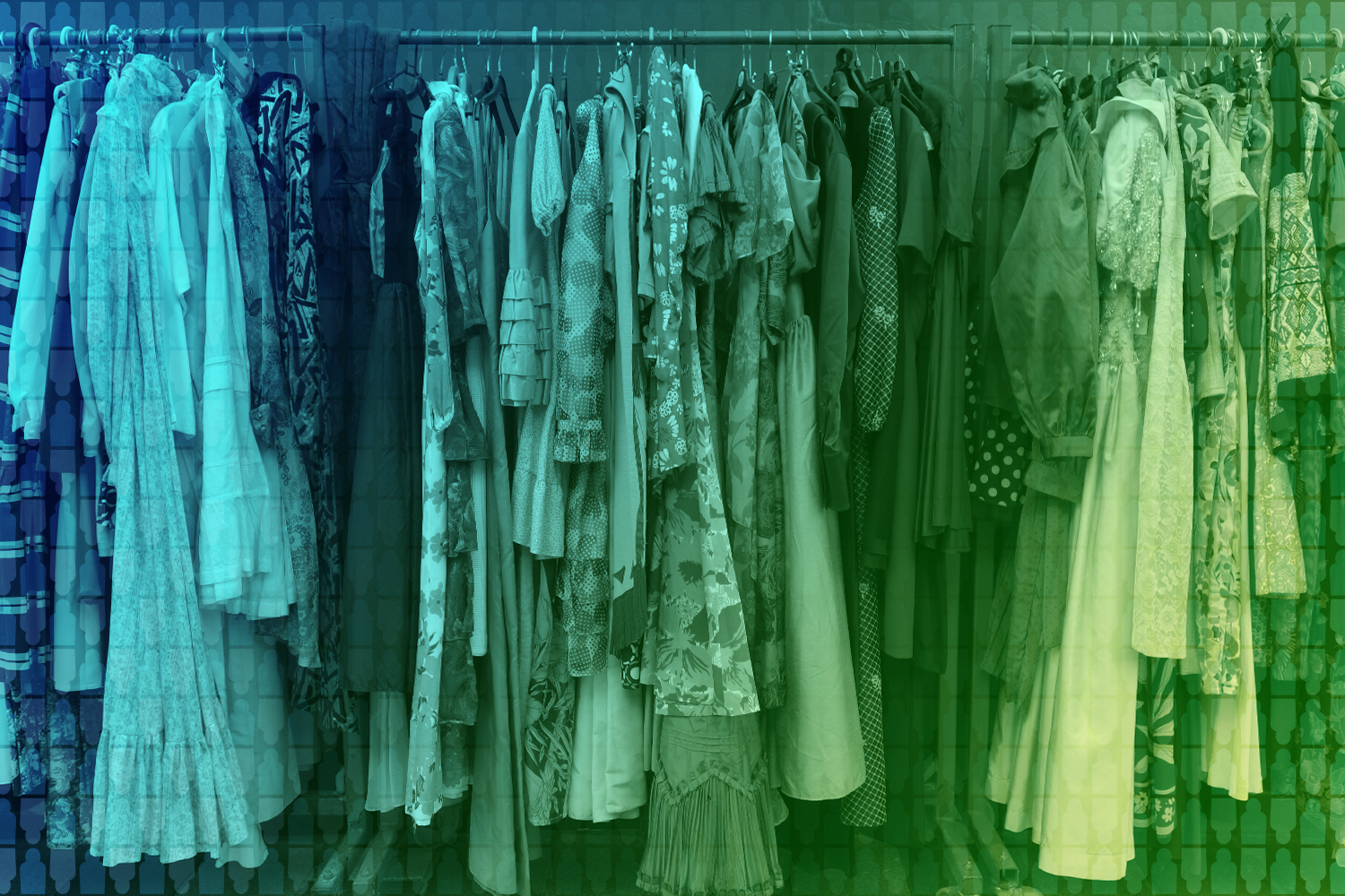 color-treated photo of women's clothing on rack