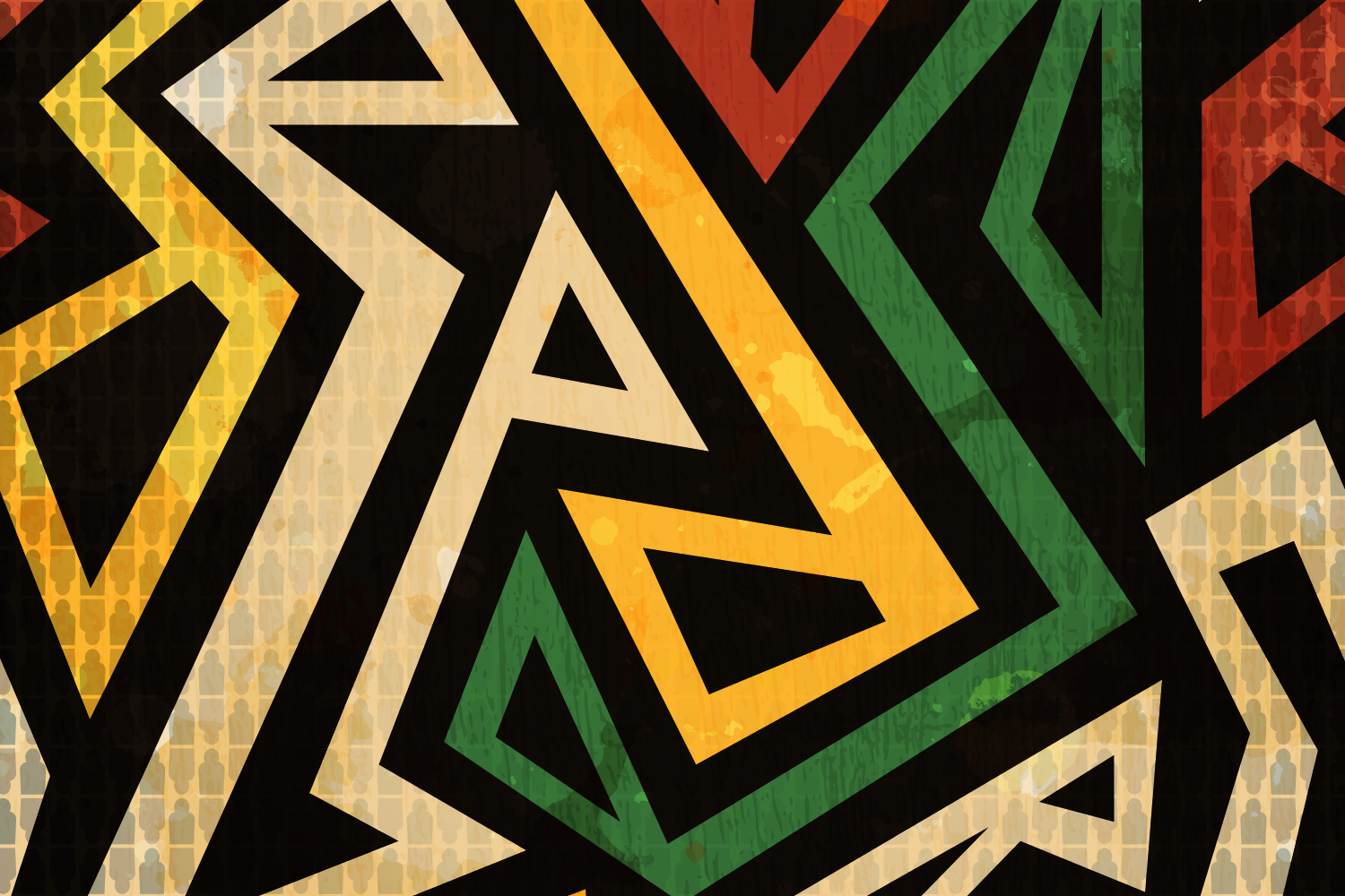yellow green red and black pattern