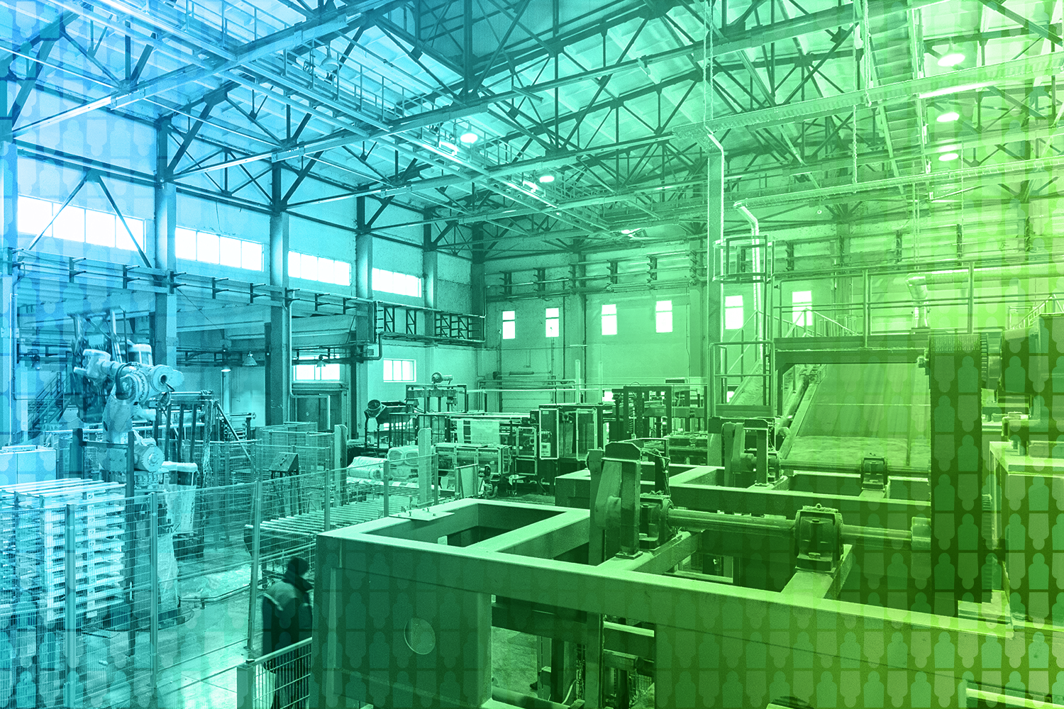 color-treated image of a manufacturing facility