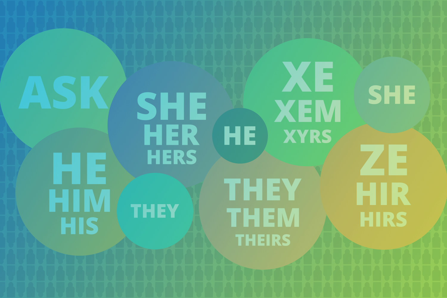 illustration displaying various pronouns used by individuals