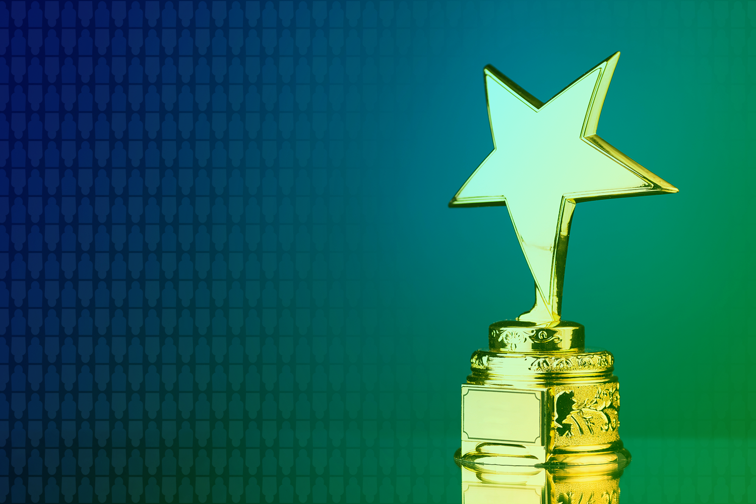 color-treated image of an award shaped like a five-pointed star