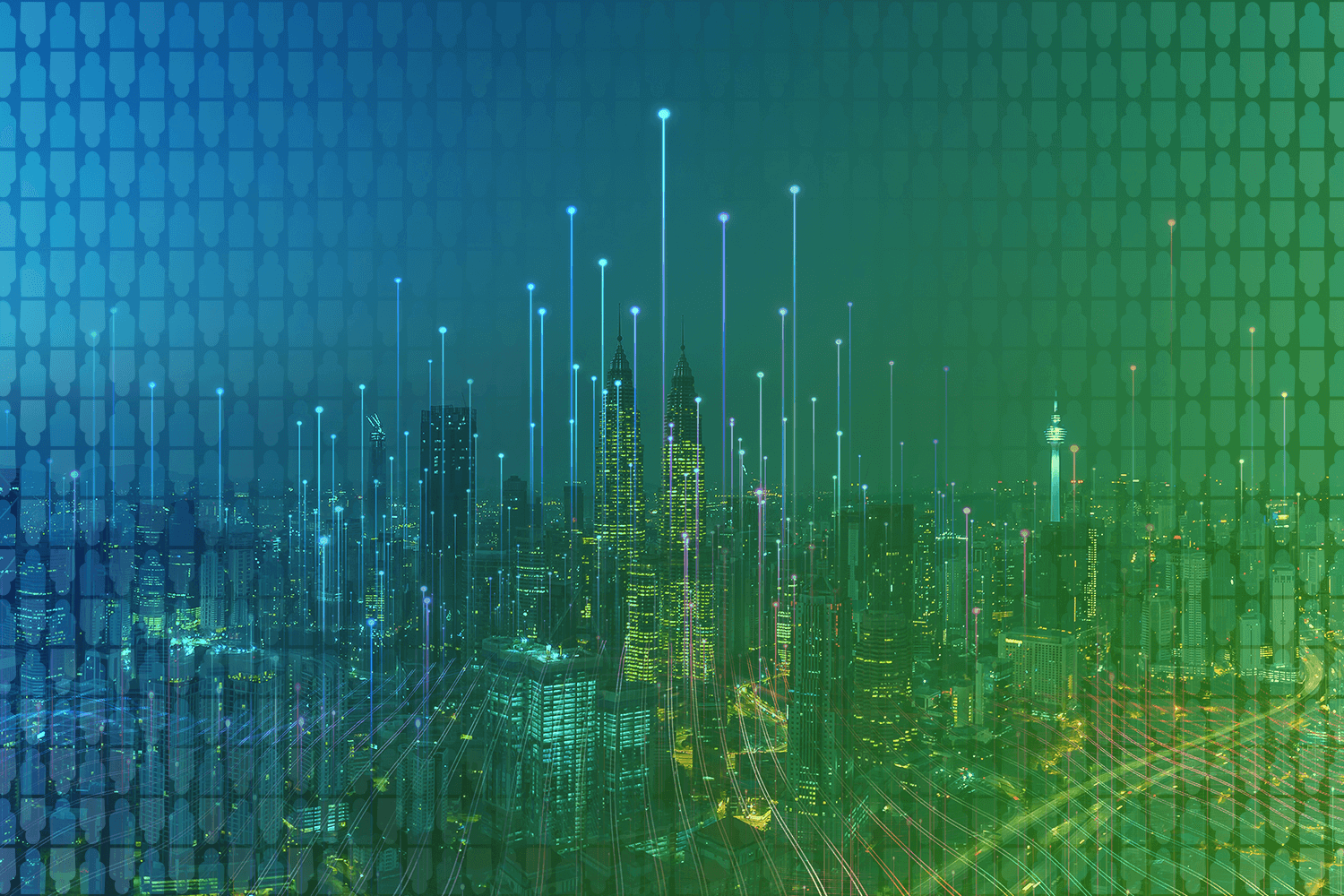 color-treated photo of skyline representing connectivity